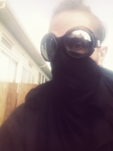 The goggles were good and I wore them all the time. The bandanna mask was soon replaced with a respirator.