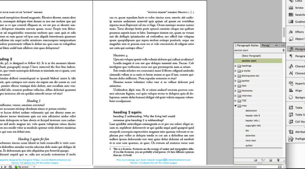 Book design template for indesign birds before the storm for Indesign templates for books